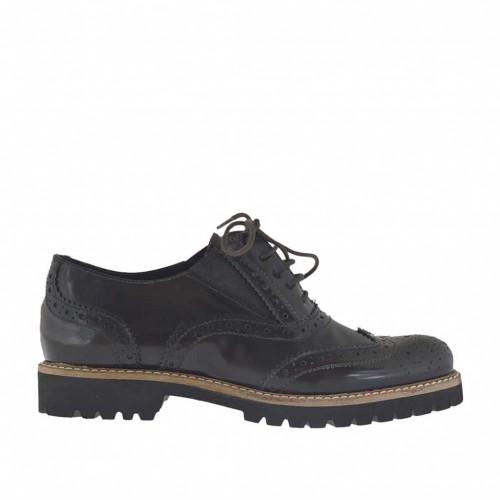 Chaussure richelieu avec lacets et elastiques pour femmes en cuir marron foncé talon 2 - Pointures disponibles:  44