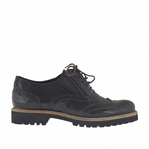 Woman's laced Oxford shoe with elastic bands in dark brown leather heel 2 - Available sizes:  44