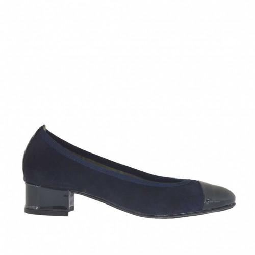 Ballerine pour femmes en daim bleu avec bout et talon en cuir vernis talon 2 - Pointures disponibles:  32, 34, 43, 44