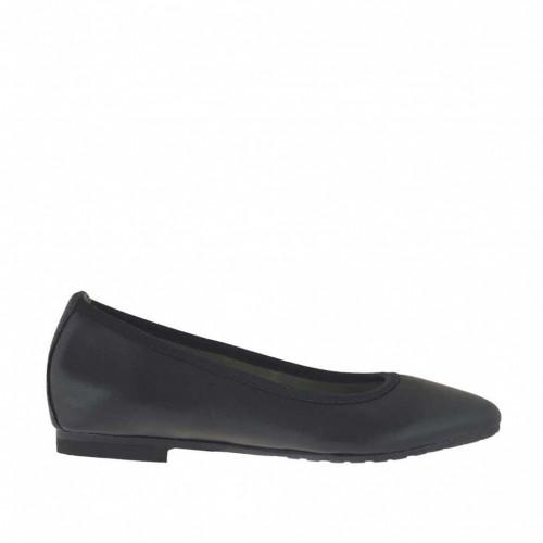 Ballerine à bout pointu pour femmes en cuir noir talon 1 - Pointures disponibles:  33, 45