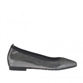 Ballerina da donna con punta sfilata in pelle color grigio acciaio glitterato tacco 1 - Misure disponibili: 32, 33