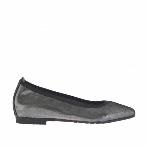 Ballerine à bout pointu pour femmes en cuir gris acier scintillant talon 1 - Pointures disponibles:  32, 33, 34, 43, 44
