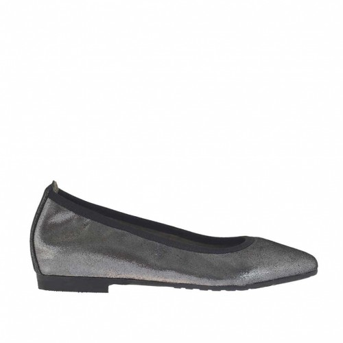 Woman's pointy ballerina shoe in steel grey glittery leather heel 1 - Available sizes:  32, 33, 34, 43