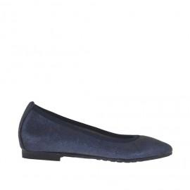 Ballerine à bout pointu pour femmes en cuir bleu scintillant talon 1 - Pointures disponibles:  32