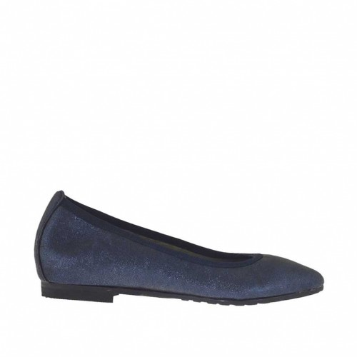 Woman's pointy ballerina shoe in blue glittery leather heel 1 - Available sizes:  32, 33, 34, 43, 44