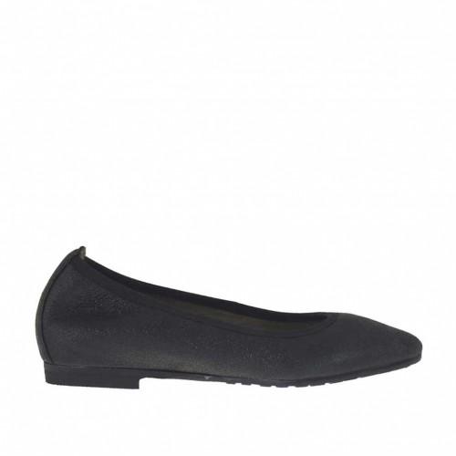 Ballerine à bout pointu pour femmes en cuir noir scintillant talon 1 - Pointures disponibles:  32, 33, 34, 43, 44, 45