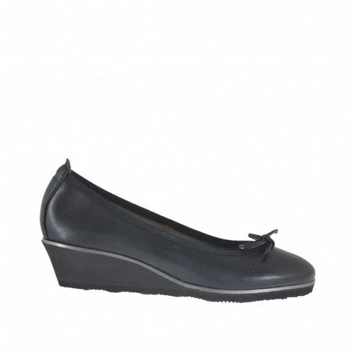 Escarpin pour femmes avec noeud en cuir noir talon compensé 3 - Pointures disponibles:  43