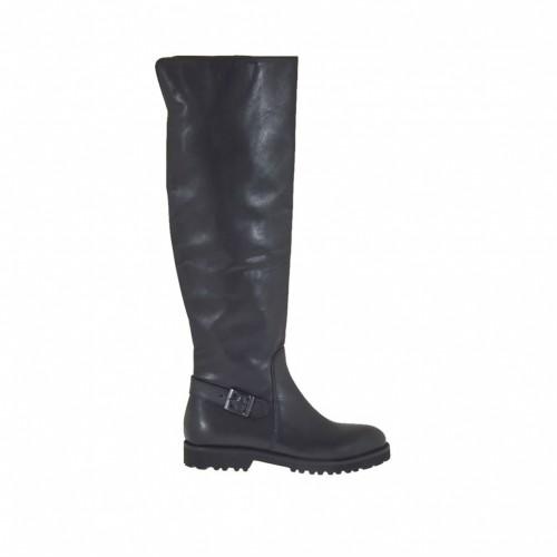 Bottes au genou pour femmes avec demi fermeture éclair interieur et boucle en cuir noir talon 3 - Pointures disponibles:  34