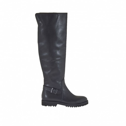 Woman's knee-high boot with half inner zipper and buckle in black leather heel 3 - Available sizes:  34
