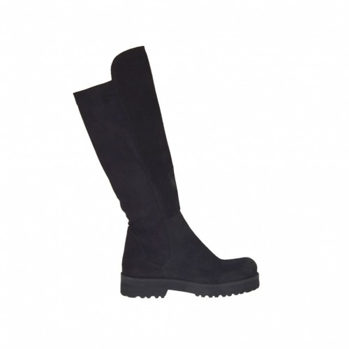 Woman's boot in black suede and elastic material heel 3 - Available sizes:  43