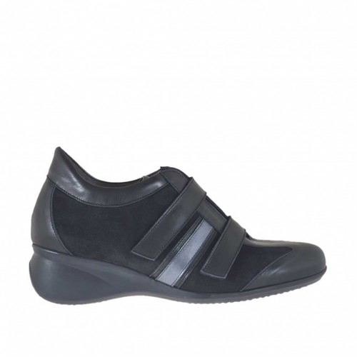 Woman's sports shoe in black and gunmetal leather and suede with velcro straps wedge 5 - Available sizes:  42