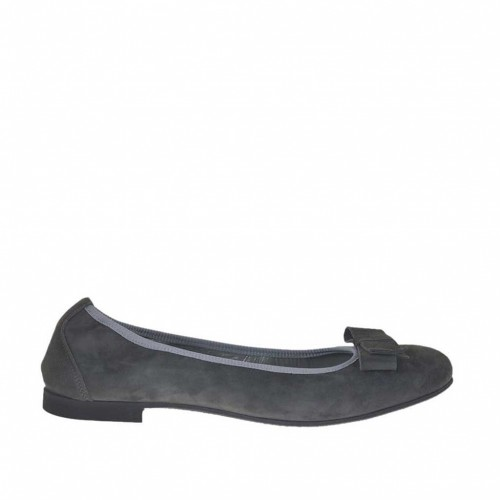 Woman's ballerina shoe with bow in grey suede heel 1 - Available sizes:  45