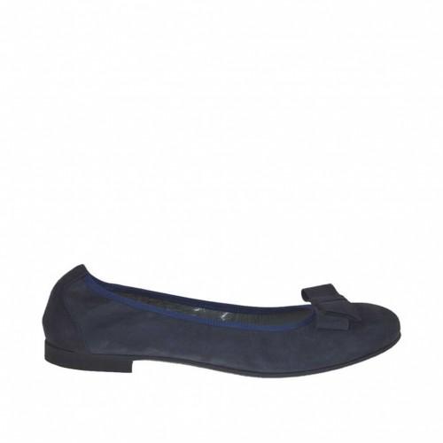 Ballerine avec arc pour femmes en daim bleu talon 1 - Pointures disponibles:  45, 46, 47