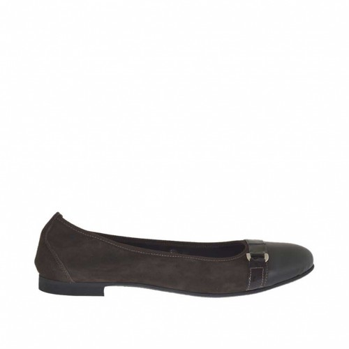 Ballerina shoe for women in dark brown suede and leather with buckle heel 1 - Available sizes:  45
