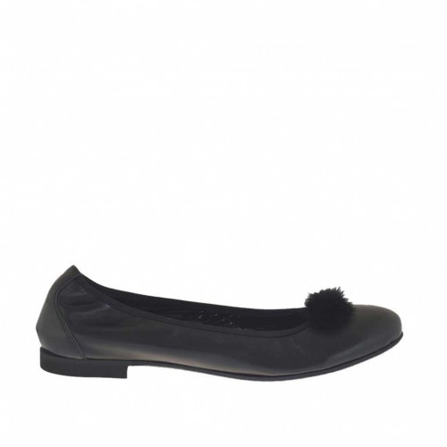 Woman's ballerina shoe in black leather with pompom heel 1 - Available sizes:  45