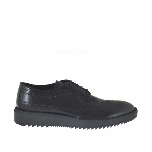 Woman's laced Derby shoe in black leather wedge heel 3 - Available sizes:  44, 45