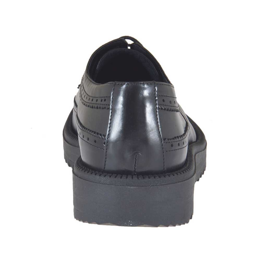 Derby Lacets Noir En Compensé Cuir Chaussure À Pour 3 Femmes Talon byfvIgmY76