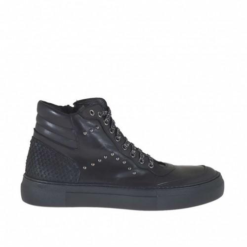 Chaussure pour femmes avec lacets scintillants et goujons en cuir et cuir imprimé noir talon compensé 3 - Pointures disponibles:  42