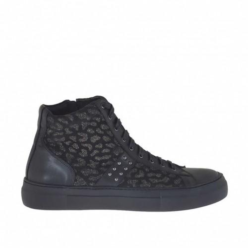 Chaussure à lacets avec fermeture éclair et goujons en cuir noir et daim or scintillant talon compensé 3 - Pointures disponibles:  42