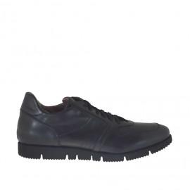 Scarpa sportiva da uomo con lacci in pelle nera - Misure disponibili: 48