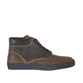 Men's sports shoe boot with laces in brown leather - Available sizes:  46