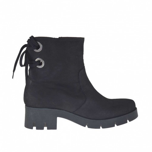 Woman's ankle boot with laces in black nubuck leather heel 6 - Available sizes:  42, 43