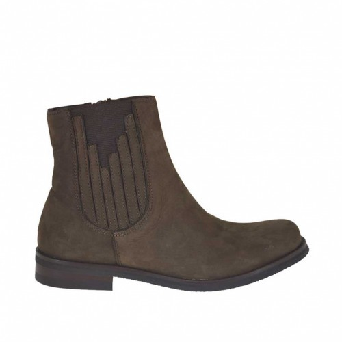 Woman's ankle boot with zipper and elastic bands in brown suede heel 3 - Available sizes:  33, 34