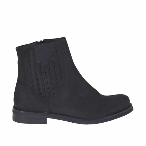 Woman's ankle boot with zipper and elastic band in black nubuck leather heel 3 - Available sizes:  45, 47