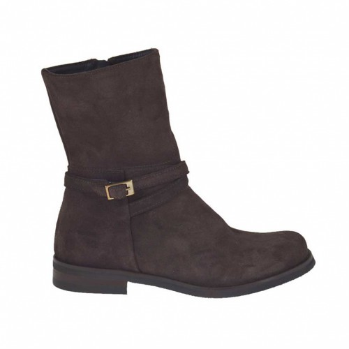 Woman's ankle boot with zipper and buckle in dark brown suede heel 3 - Available sizes:  34, 45, 47