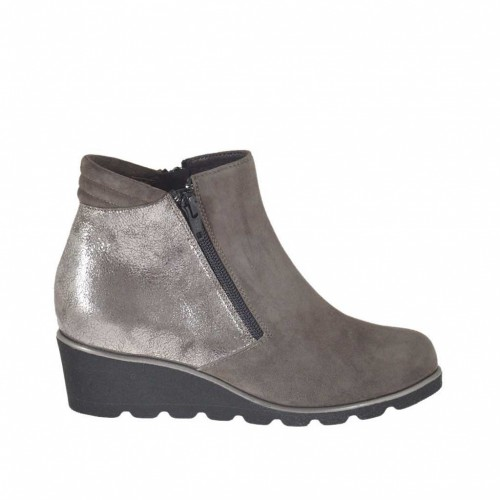 Woman's ankle boot with zippers in grey suede and silver laminated leather wedge heel 4 - Available sizes:  34, 43, 45