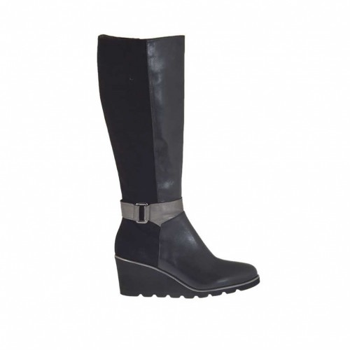Woman's boot in black suede and black and gunmetal leather with zipper and buckle wedge 6 - Available sizes:  42