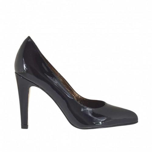 Escarpin pour femmes en cuir verni noir talon 9 - Pointures disponibles:  32, 43