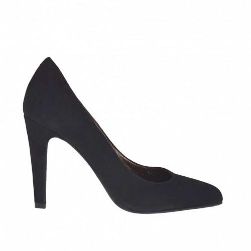 Escarpin pour femmes en daim noir talon 9 - Pointures disponibles:  43