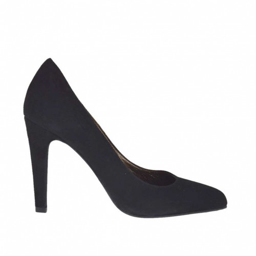 Women's pump shoe in black suede heel 9 - Available sizes:  43