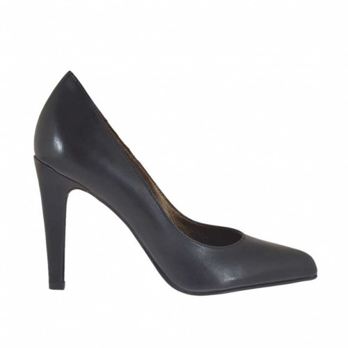 Pump for women in black leather heel 9 - Available sizes:  42