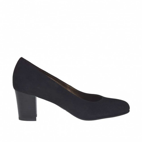 Woman's pump in black suede block heel 5 - Available sizes:  33, 34, 44, 45