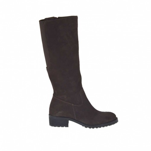 Woman's boot in dark brown suede with zipper and elastic band heel 3 - Available sizes:  42, 47