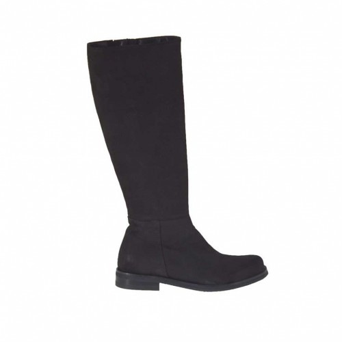 Woman's boot with zipper in black nubuck leather heel 2 - Available sizes:  33