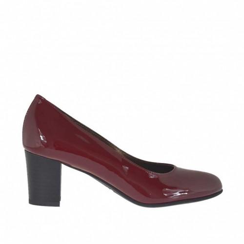 Escarpin pour femmes en cuir verni bordeaux talon carré 5 - Pointures disponibles:  32, 42, 44, 45