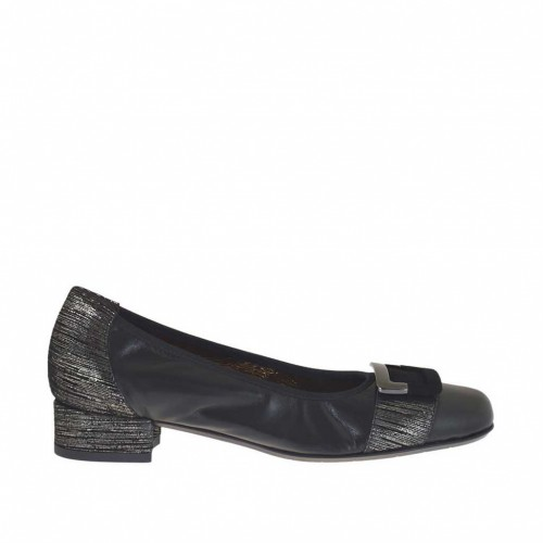 Woman's ballerina shoe with accessory in black and silver cutted leather heel 2 - Available sizes:  32, 34