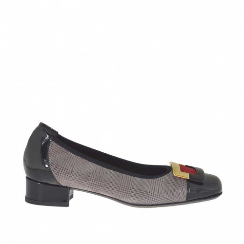 Woman's pump shoe with accessory in Glencheck printed leather, black patent leather and red suede heel 2 - Available sizes:  32
