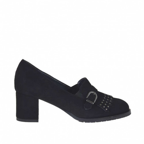 Woman's high-fronted shoe with fringes, studs and buckle in black suede heel 5 - Available sizes:  33, 34, 43, 44, 45