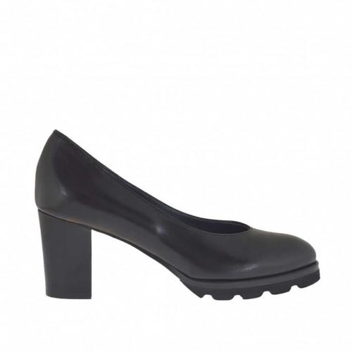 Escarpin pour femmes en cuir noir talon 7 - Pointures disponibles:  33, 43, 44, 45