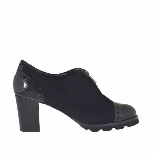 Chaussure fermée pour femmes avec fermeture éclair en daim et cuir noir talon 7 - Pointures disponibles:  33, 34, 43, 44, 45