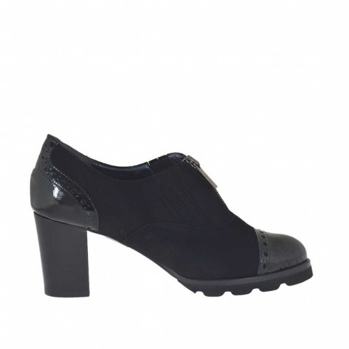 Woman's high-fronted shoe with zipper in black suede and leather heel 7 - Available sizes:  43