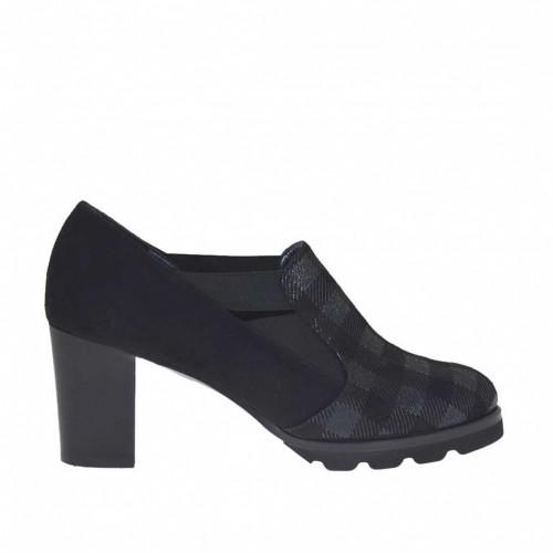 Chaussure à la cheville pour femmes avec élastiques en daim et daim imprimé écossais noir talon 7 - Pointures disponibles:  45