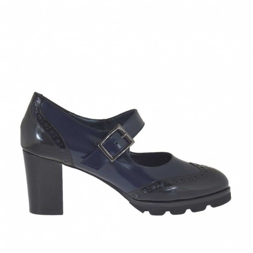 Woman's pump Oxford style with strap in blue and black brush-off leather heel 7 - Available sizes:  42, 44