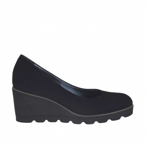 Woman's pump in black suede wedge heel 5 - Available sizes:  33, 34, 42, 44