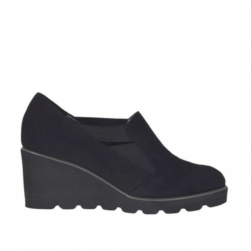 Woman's high-fronted shoe with elastic bands in black suede wedge 5 - Available sizes:  44