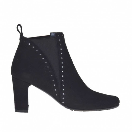 Woman's ankle boot with elastic bands in black pierced suede heel 7 - Available sizes:  34, 42